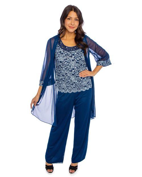 Conjunto pantalón/blusa/chaqueta estampado azul