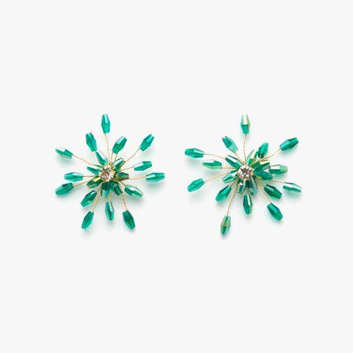 Aretes flor cuentas