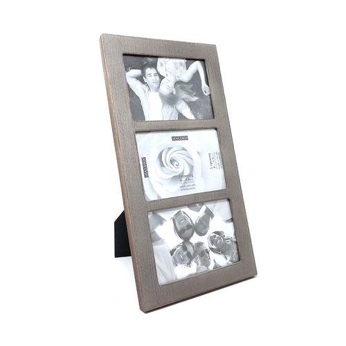 Portaretrato 3 fotos gris 4x6