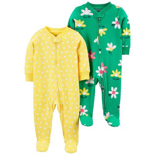 2 pack pijama de piecitos amarilla con puntos y verde con flores para niña