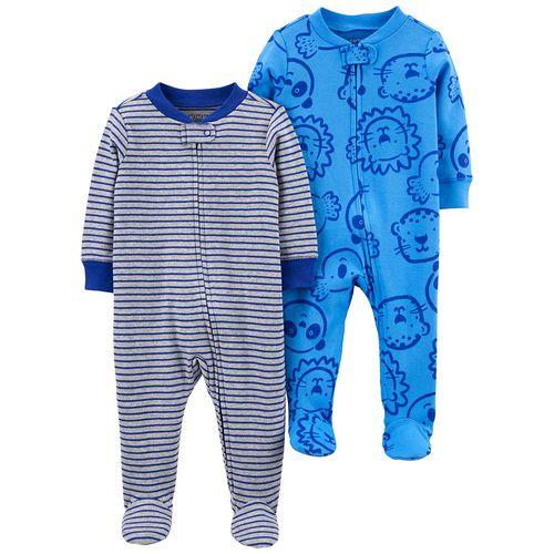 2 pack pijamas de piecitos rayas y animales azul