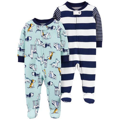 2 pack pijama de piecitos animales y rayas azul para niño