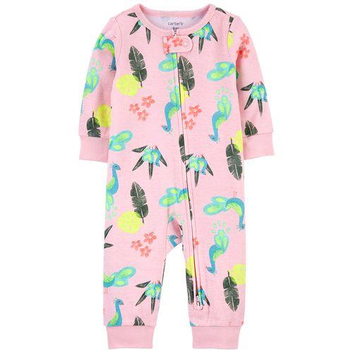 Pijama 1 piezas rosa  pavos reales para niña