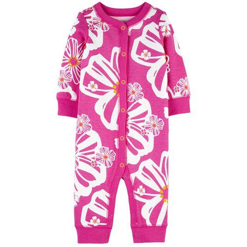 Pijama 1 piezas rosa  floreada para niña