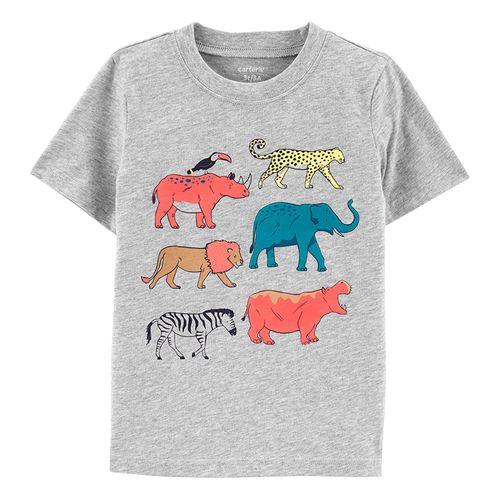Camisa estamp. animales gris para niño