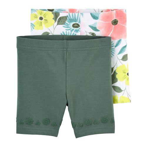 2 pack short color verde olivo y floreado para niña