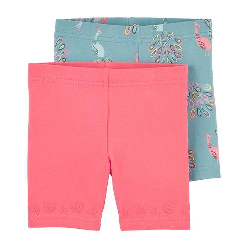2 pack short rosa y estamp. pavo real para niña