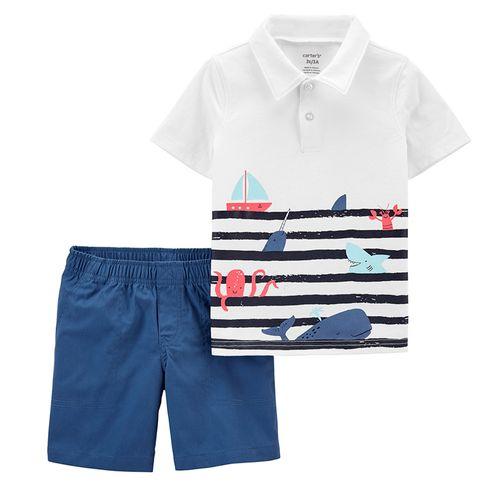 Conjunto 2 piezas camisa polo estamp barcos y short azul para niño