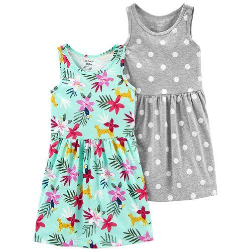 2 pack vestido floral y punto para niña