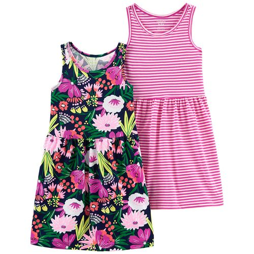 2 pack vestido flores multicolor y rosa a rayas para niña