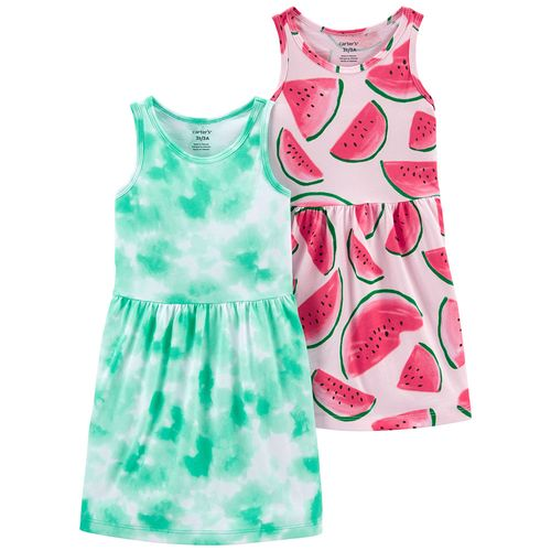 2 pack vestido tye dye turquesa y sandia para niña