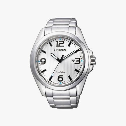 Reloj  eco-drive analogo metálico plateado de caballero