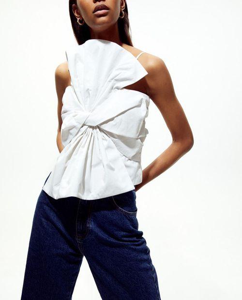 Blusa maxi lazo blanco