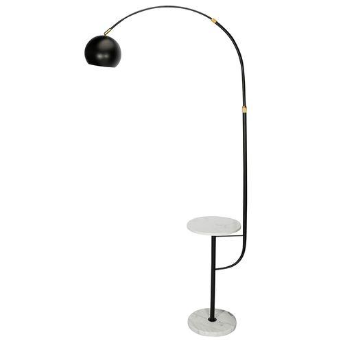 Lámpara negra con mesa de té de mármol