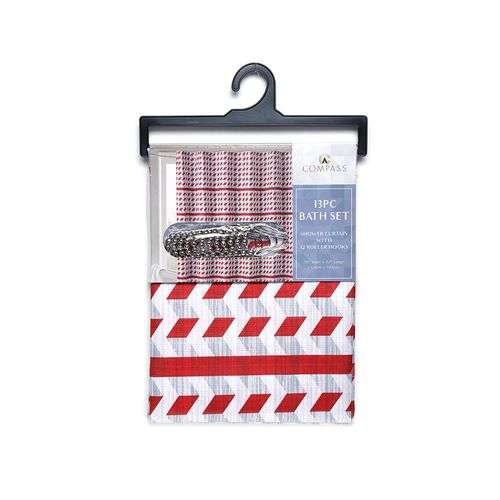 Cortina de ducha red stripe 13 pc 70x72