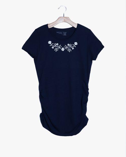 Camiseta cuello redondo prt  cuello flores