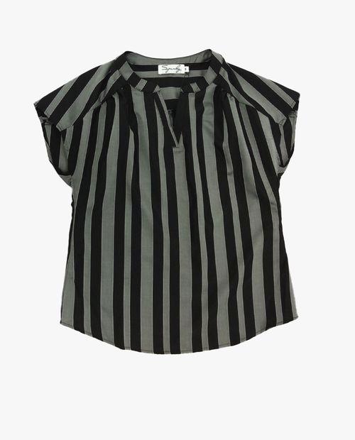 Blusa  manga corta rayado negro/gris
