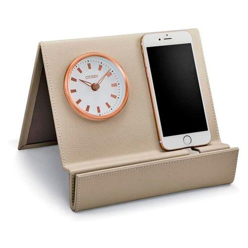 Reloj decorativo beige con espejo marco circular de color rosa