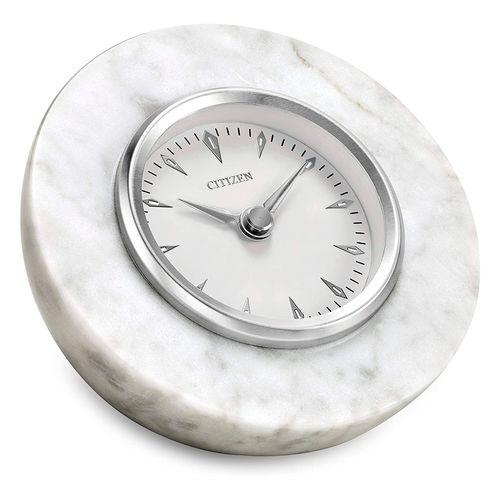 Reloj decorativo de media esfera de mármol blanco