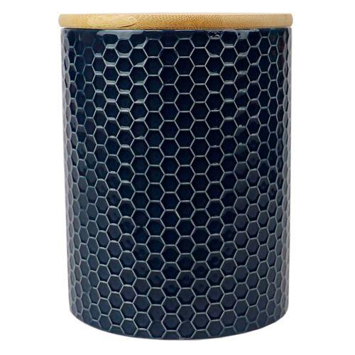 Canister de ceramica c/ tapa de bambu navy  5.00 x 5.00 x 5.00  pequeño