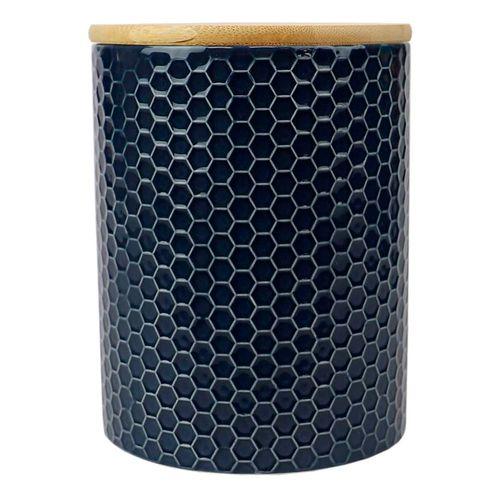Canister de ceramica c/ tapa de bambu navy 5.00 x 5.00 x 6.50 mediano