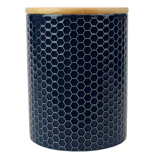 Canister de ceramica c/ tapa de bambu navy 5.00 x 5.00 x 7.75 largo