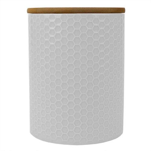 Canister de ceramica c/ tapa de bambu white 5.00 x 5.00 x 6.50 mediano