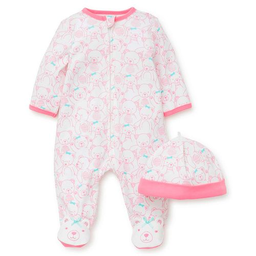 Pijama con piecitos para niñas osito  con gorro