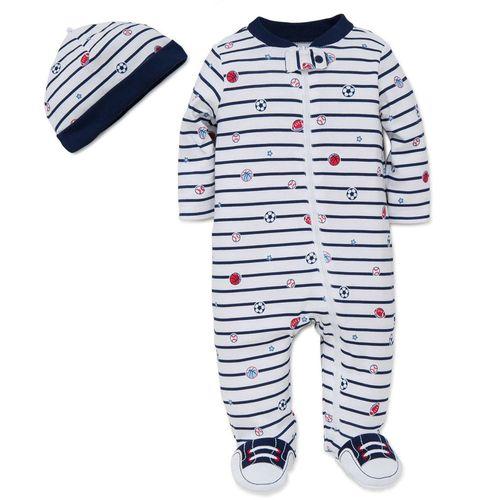 Pijama con piecitos para niño deportes con gorro
