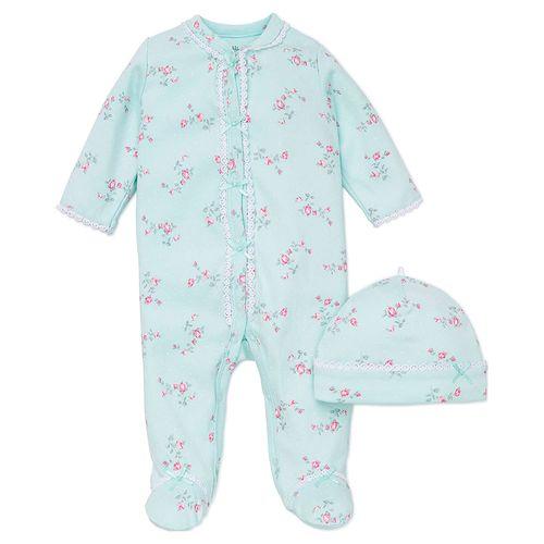 Pijama con piecitos estampada flores con gorro