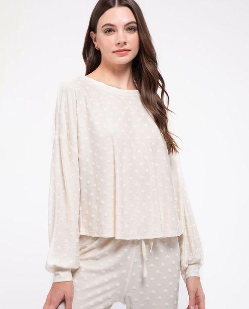 Blusa textura manga larga cream