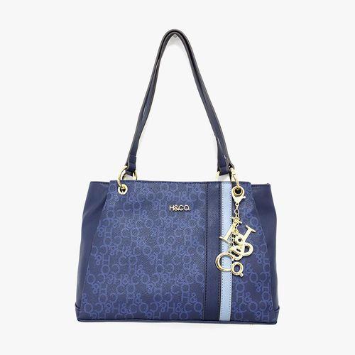 Cartera satchel h&co color azul para dama