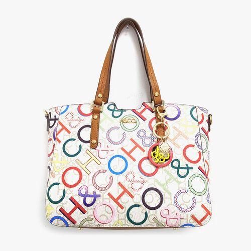 Cartera satchel h&co color blanco logo para dama