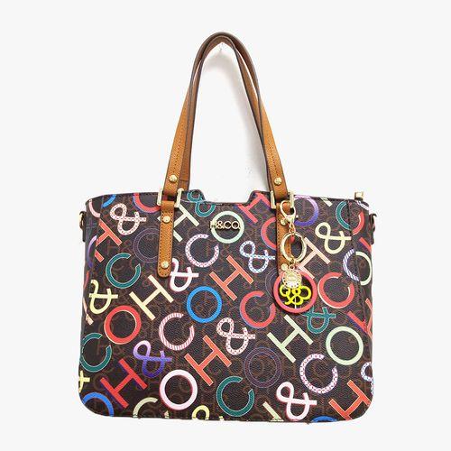 Cartera satchel h&co color cafe logo para dama