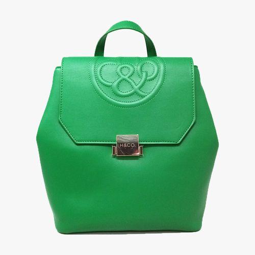 Cartera backpack h&co color verde para dama