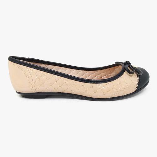 Calzado casual ballerina con chonga color biege/negro para dama
