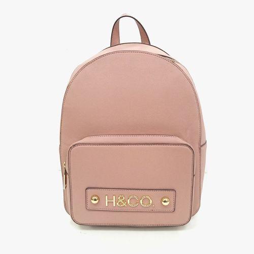 Cartera backpack h&co color rosa para dama
