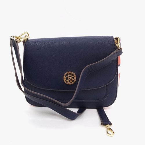 Cartera satchel h&co color blue/print para dama