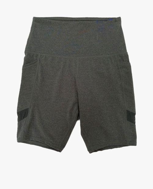 Short tipo leggings color gris jaspeado oscuro con letras