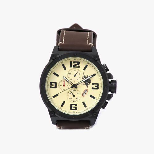 Reloj análogo correa cuero café caballero
