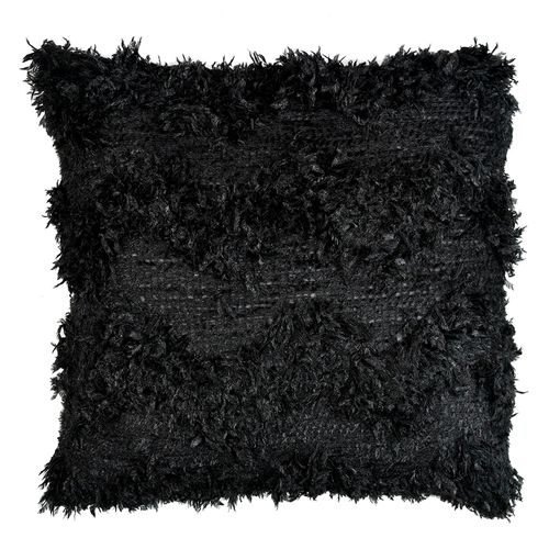 Cojín textura faux fur negro 45x45