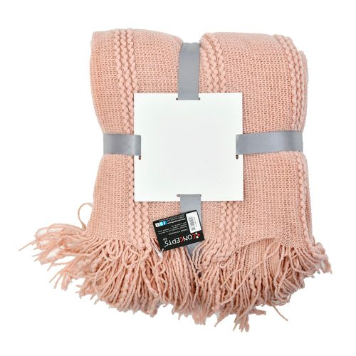 Frazada acrilico rosado 127x152cm+10cm