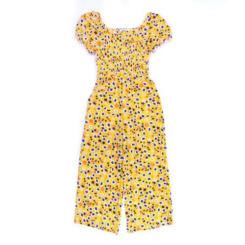 Jumpsuit manga corta amarillo estampado de niña