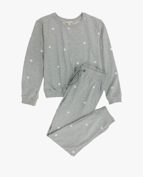 Conjunto de pantalón jogger y sudadera prt estrellas gris ht