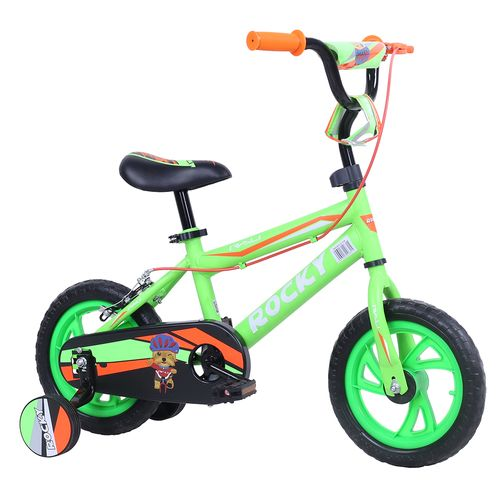 Bicicleta rali rocky rin 12 verde para niño