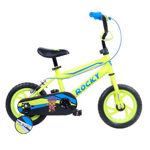 Bicicleta rali rocky rin 12 amarillo bmx para niño