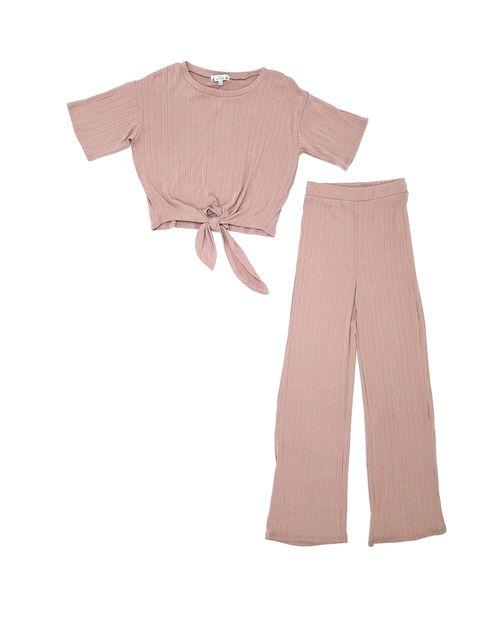Conjunto blusa manga corta y pantalón misty rose