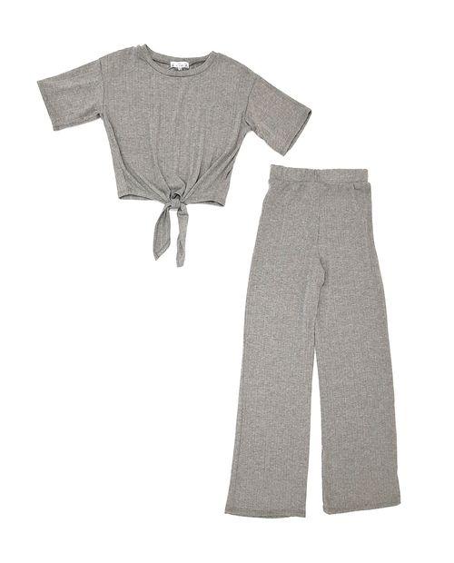 Conjunto blusa manga corta y pantalón heather grey