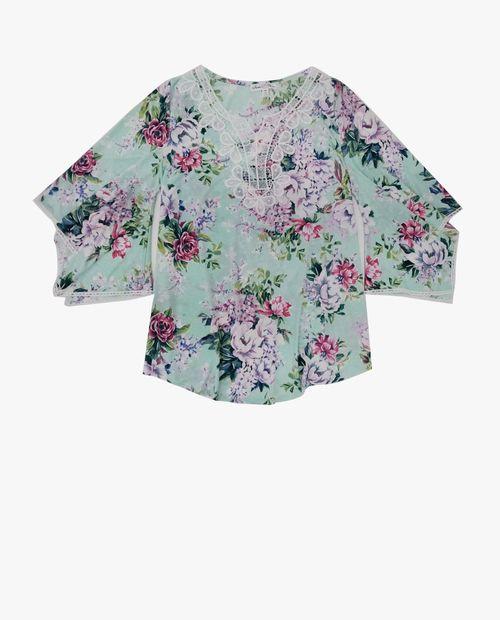 Blusa 3/4 verde/rojo floral  estampada