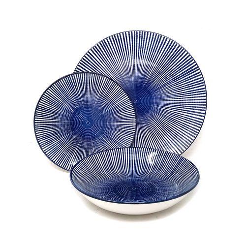 Set vajilla 12 pcs laura azul rayas